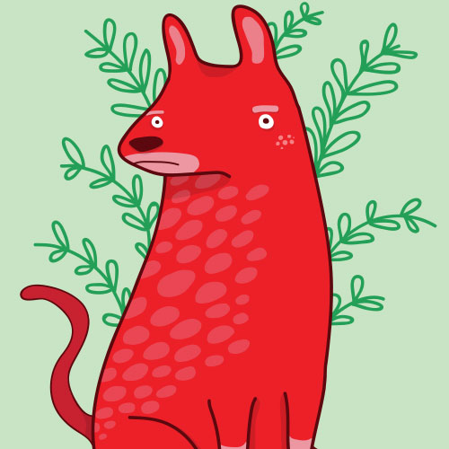 Red disappointed dog