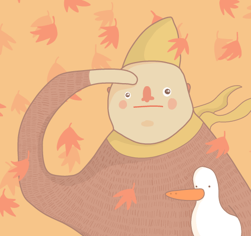 Fall Illustration (walking your duck & dog)