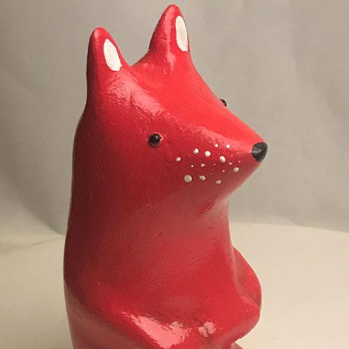 Sitting fox sculpture